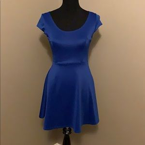 Navy blue fit and flare skater dress